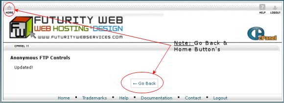 cPanel Settings Updated - Note location of Home Button!
