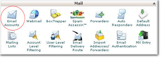 Setup Email Accounts Icon in cPanel