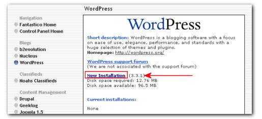 New WordPress Installation